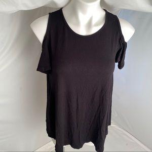 Reborn J black cold shoulder top S